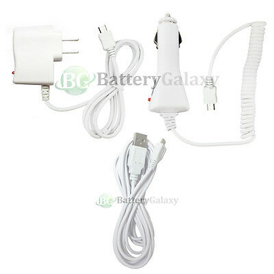 USB 10FT Cable+Car+Wall AC Charger for Phone LG Optimus Zone