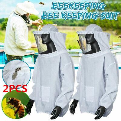 2pcs Beekeeping Jacket Anti-bee Suit Hat Sleeve Veil Smock Full Body Protective
