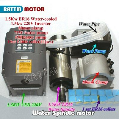 Cnc Kit 1.5kw Water Cooled Spindle Motor Er16 220vhy Vfdclamppumppipecollet