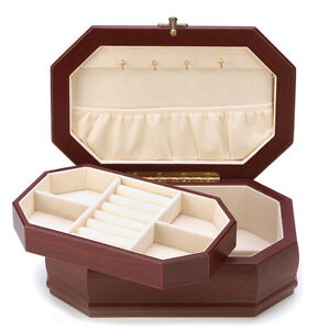 Elegant Wood Jewelry Box w/ Velvet Lining 9.75
