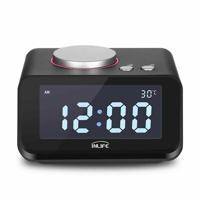 K1 Alarm Clock Radio with Dual USB Charger 12H/24H Switch