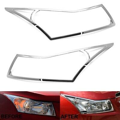 For 2009-2014 Chevy Cruze Chrome Headlight Cover Trim Bezel Overlay