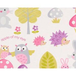 AS Creation Childrens Wallpaper Hedgehogs Rabbits Owl Forest Pattern Roll 935551