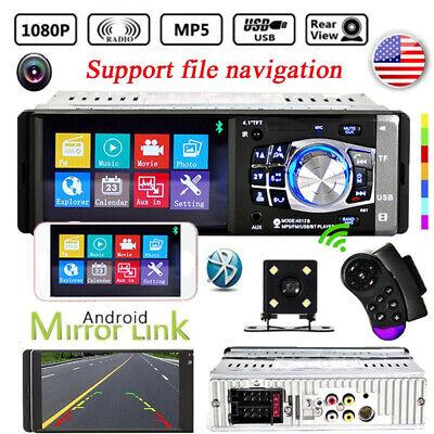 "1DIN 4.1"" HD Bluetooth In-Dash Car Stereo Radio MP5 USB AUX Player FM + Camera"