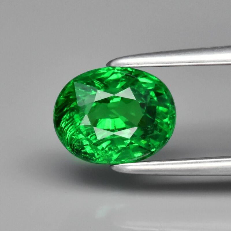 1.35ct 6.8x5.4mm Oval Natural Shocking Green Tsavorite Garnet, Tanzania
