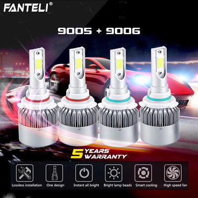 9005 9006 3700W 555000LM Combo LED Headlight Kit High Low Beam Bulbs 6000K White