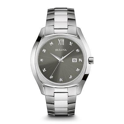 Bulova Mens 96D122 Stainless Diamond Watch w/ Quartz Movement & Water Resistant