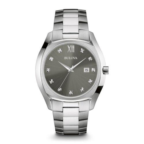 BULOVA Mens 96d122 Stainless Diamond Watch W/ Quartz Move...