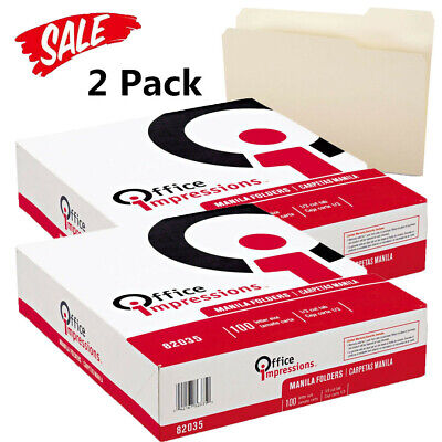 Office Impressions 13 Tab File Folders Manila Letter 100 Ct. 2 Pack