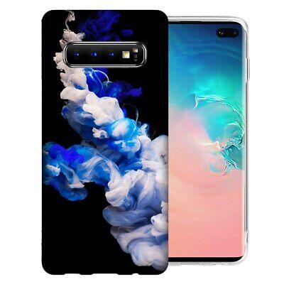 For Samsung Galaxy S10+ Plus Blue White Smoke Design TPU Gel Phone Case (Smoke Tpu Gel)