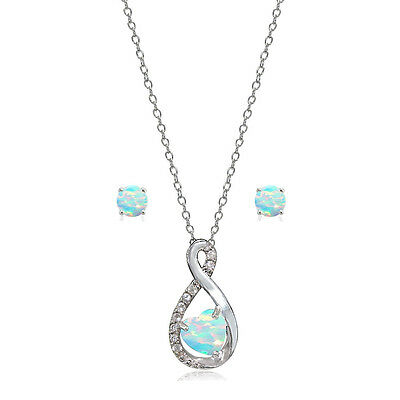 .925 Silver Created Opal & White Topaz Infinity Heart Necklace Earrings Set