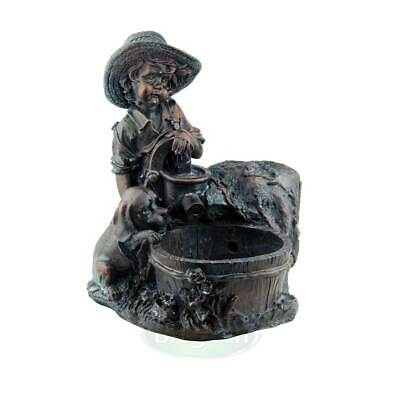 Blagdon Mini Boy and Puppy At The Well Bronze Effect Figurine Water Feature