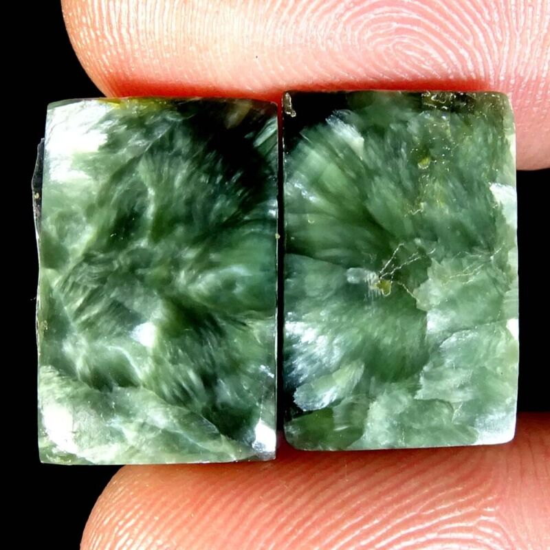 NATURAL GREEN SERAPHINITE OCTAGON SHAPE SUPER PAIR LOOSE GEMSTONE 13.95Cts
