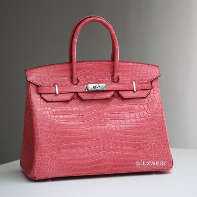New Pink Croc With Silver 35Cm Hermes Birkin Bag