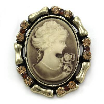 Antique Style Retro Vintage Inspired Brown Cameo Brooch Pin Charm Rhinestones u2 Antique Style Brooch Pin