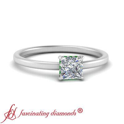 3/4 Carat Princess Cut Diamond And Emerald Gemstone Hidden Halo Engagement Ring 1