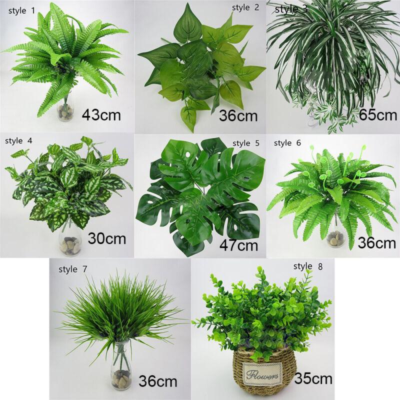 Home Decoration - Artificial Plants Fake Leaf Foliage Bush Home Office Garden Wedding Decor UK