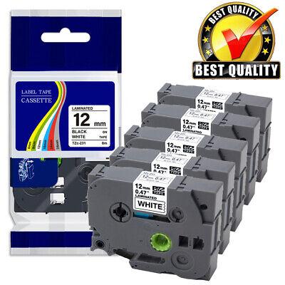 5pk Tz Tze-231 Label Maker Tape 12mm For Brother P-touch Pt-d210 Pt-h110 Pt-1280