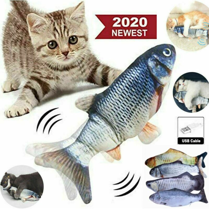"12"" Electric Moving Cat Kicker Fish Toy Realistic Flopping Fish Wiggle Toys US"