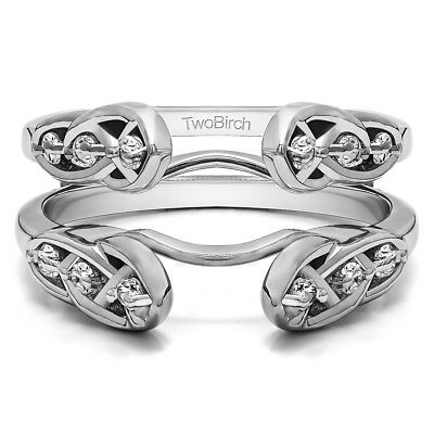Silver Charles Colvard Moissanite Infinity Celtic Ring Guard
