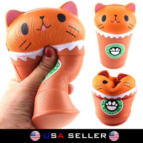 Cute Squishy Cat Squeeze Healing Kids Kawaii Toy Stress Reliever Decor Coffee