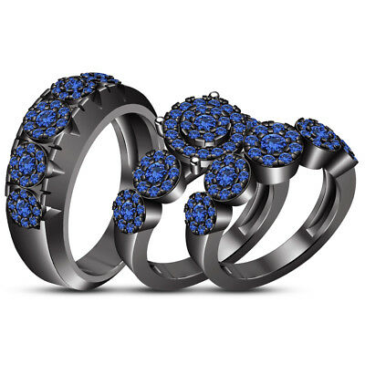 2.92 Ct Blue Sapphire Trio Wedding Ring His Hers Bands Set And Black Gold