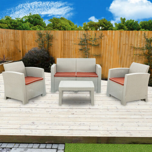 Garden Furniture - 3Pcs Outdoor Patio Garden Furniture Sofa Set 2 PC Cushions White-Love Seat Table