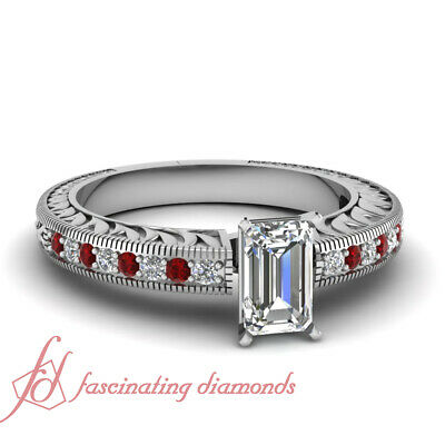 Vintage Style 1 Carat Emerald Cut Diamond And Ruby Pave Set Engagement Rings GIA