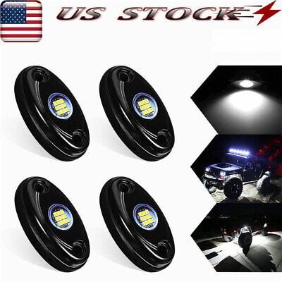 White LED Rock Lights 4 Pod Underbody Wheel Light For JEEP Offroad Truck UTV ATV