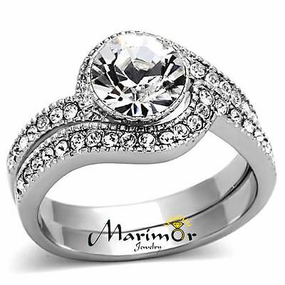 STAINLESS STEEL 2.25 CT ROUND CUBIC ZIRCONIA  316L WEDDING BAND RING SET SZ 5-10 Cubic Zirconia Set