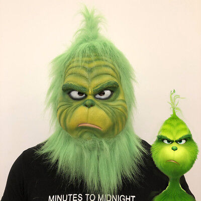 2018 Movie The Grinch Cosplay Masks Green Latex Full Head Helmets Fur Christmas