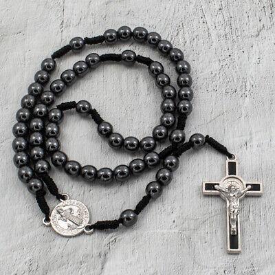 "Saint St Benedict Medal Cord Rosary Black Hematite Beads Rosario San Benito 12"""