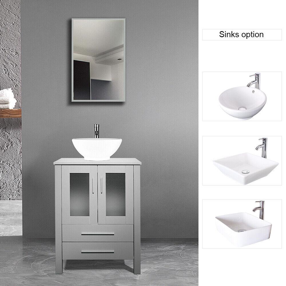 Luxury Modern Bathroom Vanity With Ceramics Sink 26 Vanilla Oak For Sale Online Ebay