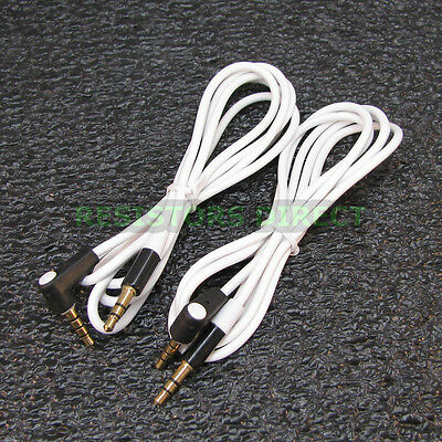 2x White High Quality Gold Plated 3.5mm Auxillary Cable Right Angle Audio S41 ()