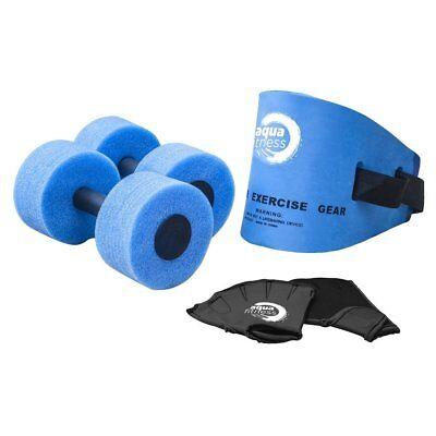Pool Exerciser Water Exercise Aerobic Belt Barbells Gloves w/ Guide Kit Set NEW
