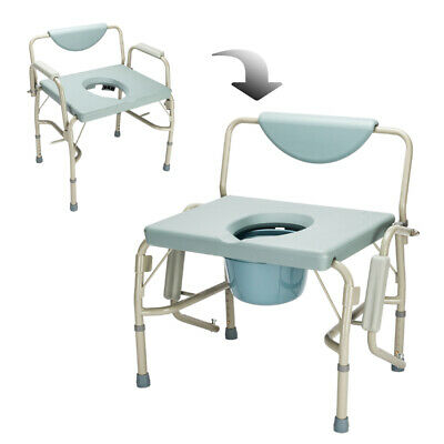 Over-Sized Drop-Arm Commode Chair Heavy Duty Steel Frame, 55