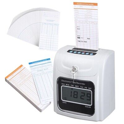 Lcd Display Employee Attendance Punch Time Clock Payroll Recorder 100 Cards New