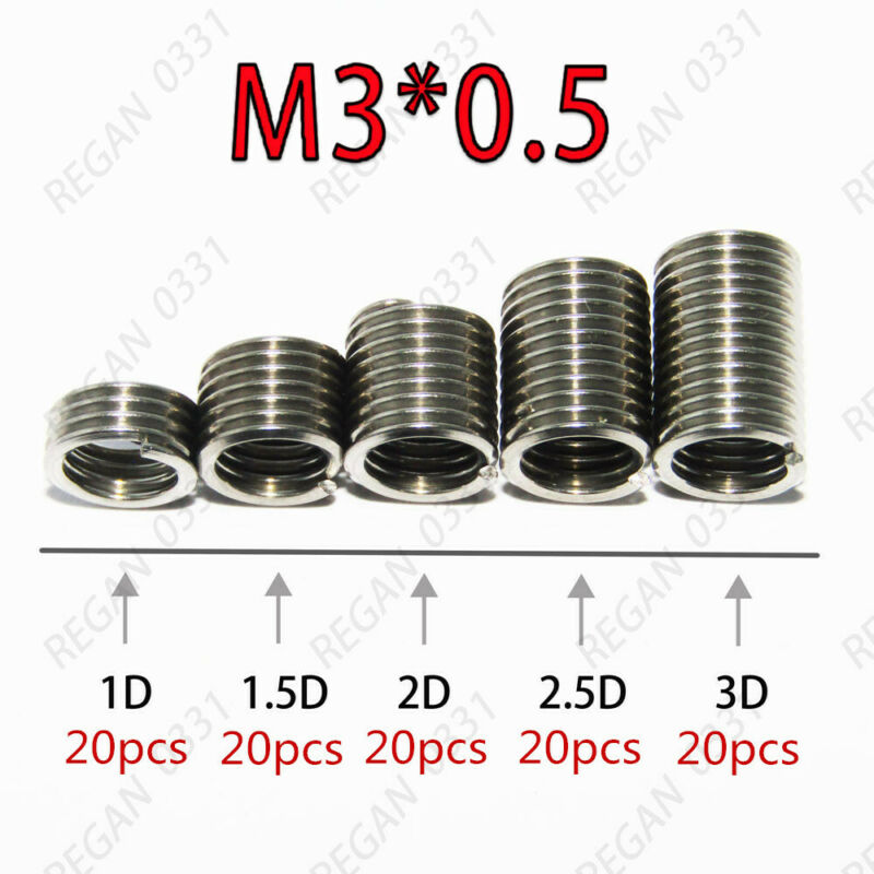 100pcs M3x0.5 Stainless Steel Helicoil Thread Inserts Assortments Metric Coarse