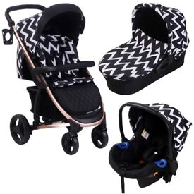 BNIB My Babiie Katie Piper MB200 Travel System Black Chevron Rose Gold Stroller, Carrycot & Car Seat