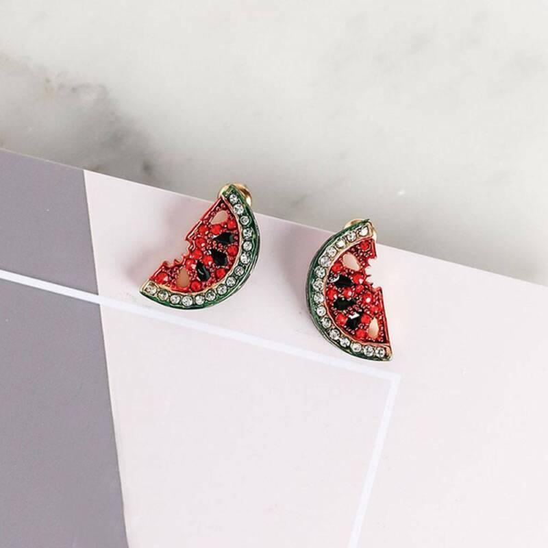 Lovely Cute Small Rhinestone Watermelon Fruit Stud Earrings