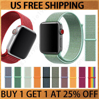 Woven Nylon Band For Apple Watch Sport Loop iWatch Series 5/4/3/2 38/42/40/44mm