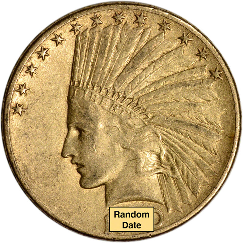 Us Gold $10 Indian Head Eagle - Vf Condition - Random Date