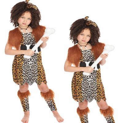 Mädchen Höhlenmädchen Kostüm + Perücke Kinder Tarzan Flintstones - Flintstone Kinder Kostüm