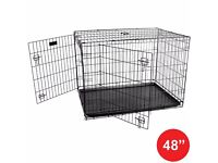 New Dog Cage / Crate. Folding Animal Transport Crate With Tray. - 48 Inch: H 82 x W 125 x D 77 cm