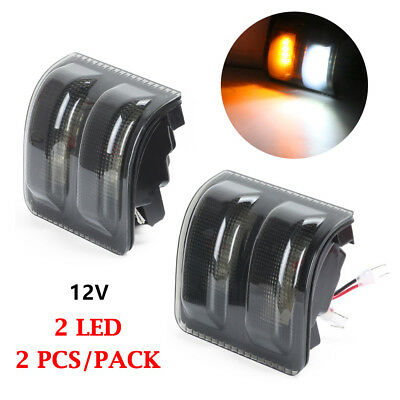 2X Smoked Lens White/Amber LED Side Mirror Marker Lights for Ford F250 F350 F450