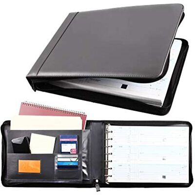 Business Check 7 Ring Binder For 3-up Checks Pu Leather Portfolio Checkbook With
