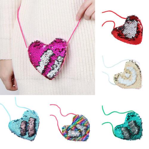 Money Card Pocket Loving Heart Wallet Mermaid Sequins Handbags Cute Coin Purse