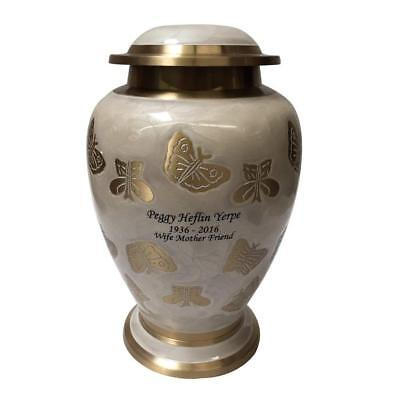 Cremation Urn, Pearl White and Gold Butterfly Funeral Urns with Personalization