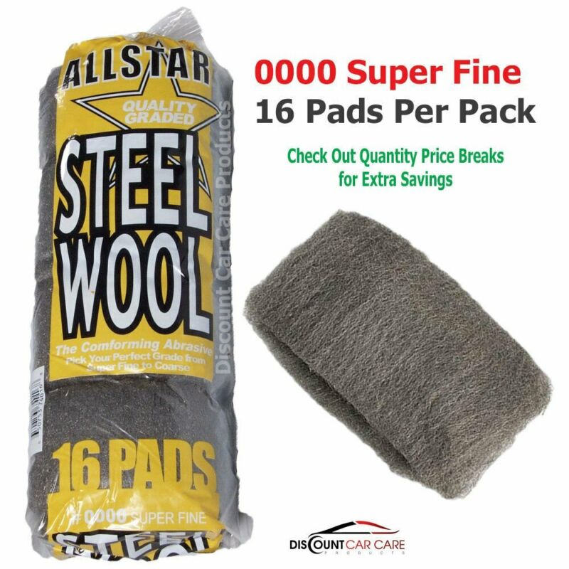 Super Fine Steel Wool Pads # 0000 - High-Quality Professional - 16 Pads Pack