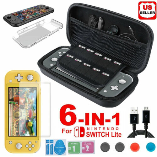 For Nintendo Switch Lite Carrying Case Bag+Shell Cover+Tempered Glass Protector Bags, Skins & Travel Cases